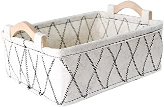 SKGOFGODcw Home Storage Bins Felt Storage Baskets, Wooden Handles, Simple Fabrics, Storage Boxes for Storage Of Miscellane...