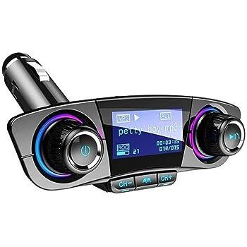 Transmisor FM Bluetooth para Coche, Kit Manos Libres Bluetooth Auxiliar para Coche, Reproductor De MP3 Y Audio, Cargador USB Dual
