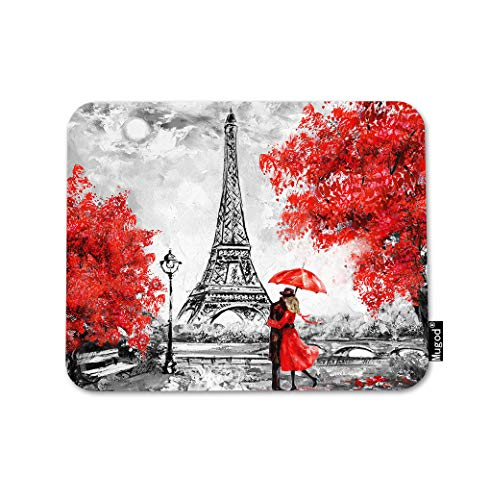 Mugod Paris Mouse Pad City Landscape Eiffel Tower Couple Under an Umbrella on Street Gaming Mouse Mat Non-Slip Rubber Base Mousepad for Computer Laptop PC Desk Office&Home Working 9.5x7.9 Inch