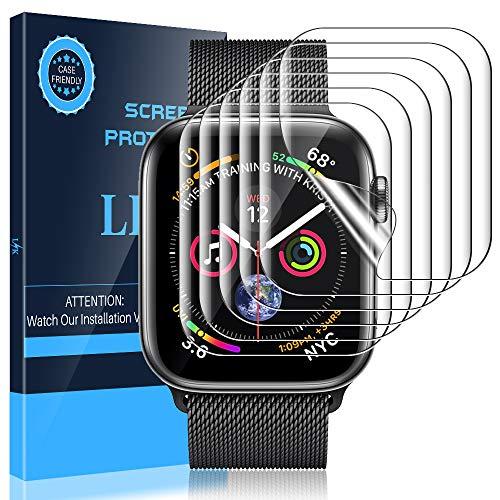 LK 6 stück Schutzfolie für Apple Watch Series 5/4 44mm und Series 3/2/1 42mm ,(Premium-Qualität) Displayschutzfolie Anti-Bubble [volle Abdeckung] HD Klar Folie