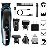 Htwon Hair Clippers for Men, 5-in-1 Cordless Hair Trimmer, Men's Grooming Kit with Beard Trimmer, Design Trimmer, Nose Trimmer, Body Trimmer, Low Noise & Rechargeable