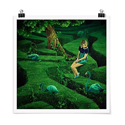 Bilderwelten Poster Quadro Wall Art Donna nel Labirinto Quadrato Autoadesivo 70 x 70cm