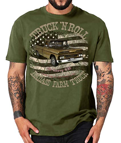 Truck n Roll Shirts USA Pickup Ford F100 Chevy Apache Blazer C10 Ram Mercury Hot Rod (XL, 60s Farm Truck Oliv)