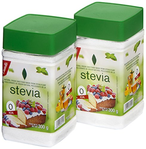 Castelló Since 1907 Édulcorant Stevia + Érythritol 1:3 - Pack 2 x 300 g - Total: 600 g