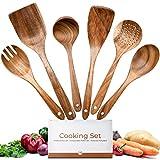 Troster® Kochutensilien Set Holz aus 100% Teak in Premium Qualität - 6 Stück, Pfannenwender Holz,...