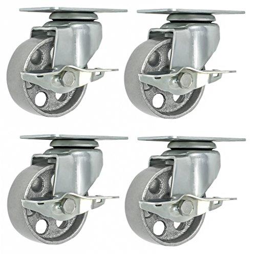 4 All Steel Swivel Plate Caster Wheels w Brake Lock Heavy Duty High-gauge Steel Gray (4' METAL SWIVEL CASTER W/ LOCK GRAY)