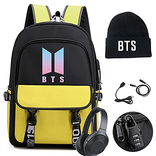 BTS Laptop Backpack and Hat Features USB, Audio Cable Interface Breakers and...