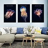 NC87 Carteles de Medusas de Estilo nórdico de Lujo Fondo Negro Pintura de Lienzo Decoración de Acuario e imágenes de Pared para Sala de Estar -40x60cmx3 (Sin Marco)