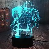 Naruto - Lámpara de noche infantil 3D con batería para habitación infantil, mando a distancia Kakashi Naruto Sasuke Sakura para fan de Naruto, decoración de habitación infantil (3 Naruto