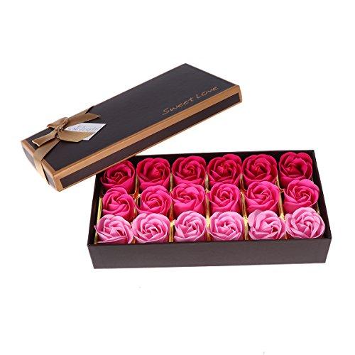 Lurrose Jabon de baño Flores de rosa,jabón de aceite esencial del pétalo de la flor de Rose perfumado multicolor jabón de cuerpo jabón regalo del banquete de boda 18 piezas