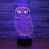 3D Night Light - Lámpara 3D con diseño de búho, 7 colores, LED, para niños, táctil, USB, mesa para dormir, luz nocturna LED con sensor