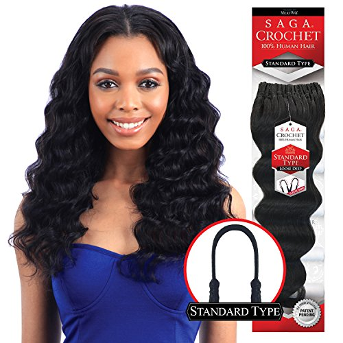 "MULTI-PACK DEALS! Saga Human Hair Crochet Braids Standard Type Loose Deep With FREE GIFT (12"", 3 PACKS - COLOR 1B)"