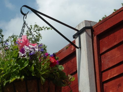 Photo of MyGardenGreen 8 x Hanging Basket Brackets for Concrete Posts supports Easy Fill baskets