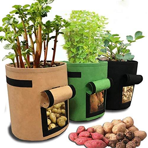 ジャガイモ植栽バッグ、植物栽培バッグ、プランター、3袋のジャガイモ植栽、ハンドルと大きな収穫窓付き7ガロン、庭の野菜保育園で使用できます。