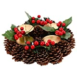VALICLUD Navidad Baya Corona de Adviento Piña Calendario de Adviento Temporada Candelabro Coronas de Adviento Anillo Velas Candelabro Decoraciones Rojas