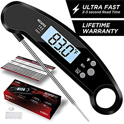 Kizen Instapen Pro Instant Read Meat Thermometer - Best Waterproof Thermometer with Talking Function, Backlight & Calibration. Digital Food Thermometer for Kitchen, Outdoor Cooking, BBQ, and Grill!