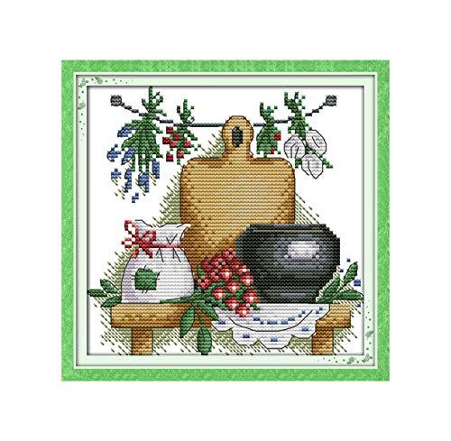 Die Schöne Teekanne Mit Blumen Auf Leinwand Gedruckt Stickpackungen Gedruckt Stickpackung Stickmuster J132 14Ct Weiß Leinwand