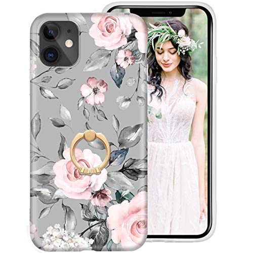 iDLike iPhone 11 Case for Girls Women, Floral Flower Cute Design Soft Silicone Protective Phone Case Cover with Ring Holder Kickstand for Apple iPhone11 6.1 2019
