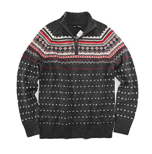 J.Crew Mercantile Men's Fair Isles 1/4 Zip Pullover Sweater (Small, Charcoal Gray)