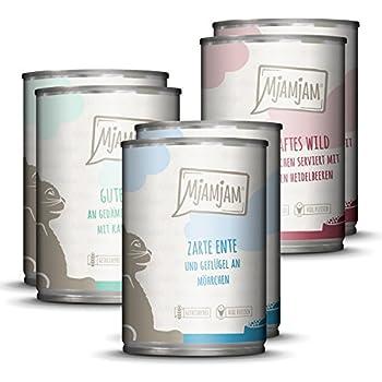 MjAMjAM Nourriture humide de qualité supérieure pour chats - Mélange II - Sauvage et lapin, dinde, canard et volaille, 1 paquet (6 x 400 g), sans céréales avec extra de viande