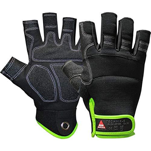 Hase Safety Gloves Technik 0-Finger Mechaniker-Handschuhe, Abriebfeste Arbeitshandschuhe mit Klettverschluss Größe L (09)