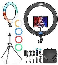 IVISII Ringlicht mit Fernbedienung, 19 Zoll/48 cm Ringleuchte mit 4 Farbfiltern für Smartphone/Kamera/Tablet, Ringlicht mit Stativ für Live-Streaming, Videoaufnahme, Porträt