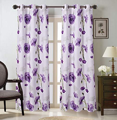 2 Grommet Curtain Panels 37' W x 63' L each, Decorative Floral Design Print, Light Filtering Room Darkening Thermal Foam Back Lined Curtain Panels for living/bedroom room/ patio - Multicolor Purple