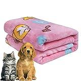 softan Hundedecke Flauschig und Waschbar, Warme für Hunde, Weiche für Katze, Netter Corgi Muster, 80x100cm,Rosa