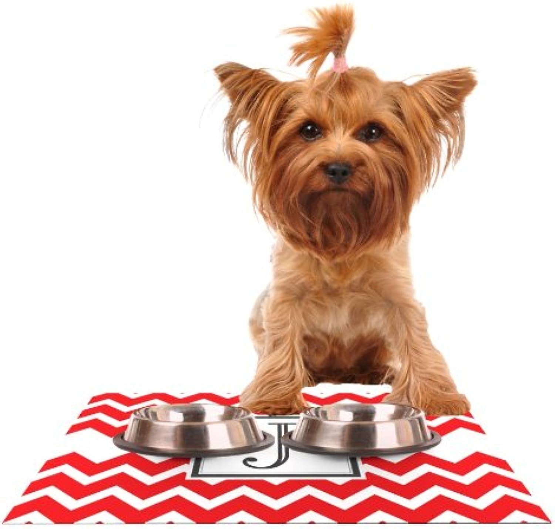 KESS InHouse Kess Original Monogram Chevron Red Letter J  Feeding Mat for Pet Bowl, 18 by 13Inch