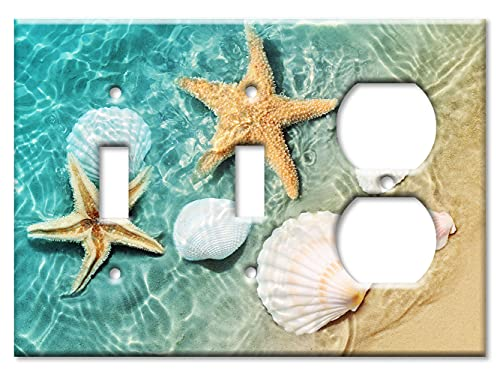 Art Plates - 3-Gang Combination Switch Plate - Toggle/Toggle/Outlet - Sea Shells and Star Fish in Ocean Beach Tide Pool