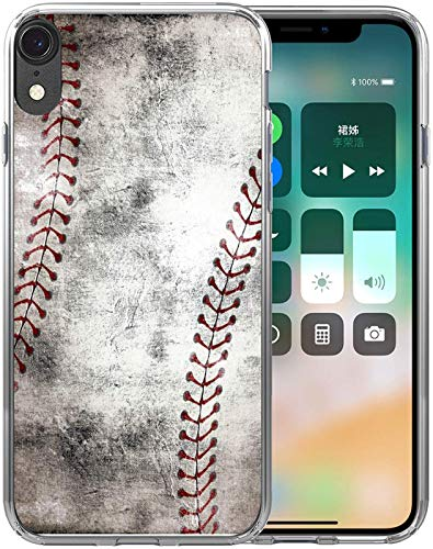 XR Case/IWONE Designer Rubber Durable Protective Skin Transparent Cover Shockproof Compatible with iPhone XR[10R] 2018 6.1 Inches Creative Vintage Baseball Art Printing