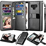 NJJEX for Galaxy Note 9 Wallet Case, for Note 9 Case, Luxury PU Leather [9 Card Slots] ID Credit Folio Flip Cover [Detachable][Kickstand] Magnetic Phone Case & Wrist Strap for Samsung Note 9 [Black]