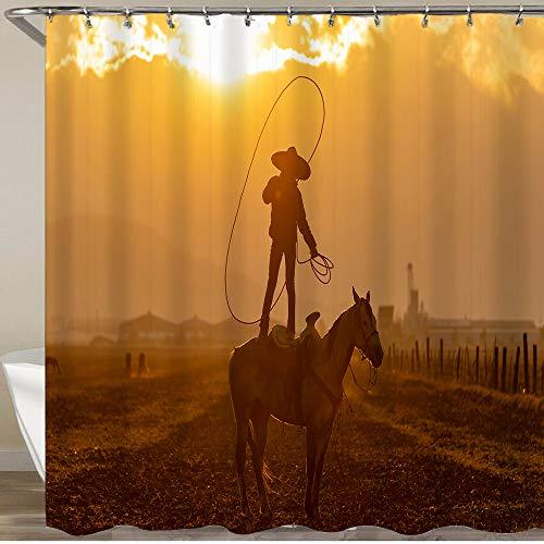 COFEIYISI La Cortina de Ducha más Nueva con Ganchos,Un Joven Charro Mexicano reúne una Manada de Caballos Corriendo por un Campo en un Rancho Mexicano al Amanecer