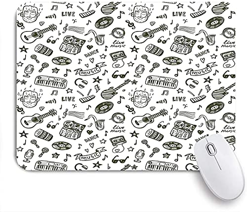 PATINISA Mouse Pad Mouse Mat,Hand Drawn Music Pattern of Item Bearded Musician Guitar Recorder Microphone,Gaming Mouse Pad Custom for Laptop,Computer and PC Home Office Working