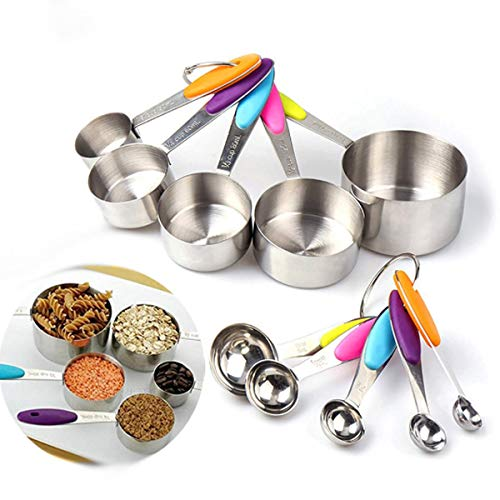 Cuchara 10pcs Acero Inoxidable MEDICIÓN Cups & Spoons Set Herramienta de Cocina inlijianzhugon