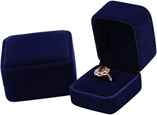 duoduodesign Dark Blue Classic Velvet Engagement Ring Box