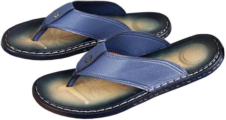 1 Pair Summer Mens Flip Flops Sandals Thongs Sandals Outdoor PU Beach Dark Blue Stitching Casual Slippers