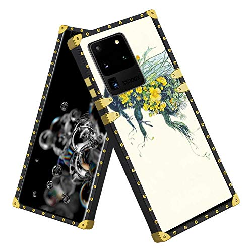 AIGOMARA Square Case for Samsung Galaxy S20 Ultra 5G Bee and Flower TPU Bumper Shockproof Protective Cover Metal Decoration Corner Back for Samsung Galaxy S20 Ultra 5G