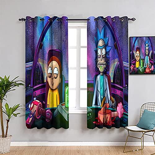 Trelemek 3D Rick and Morty - Cortina extralarga impresa con dibujos animados Rick and Morty Cortinas personalizadas con ojales para dormitorio (55 x 45 cm)