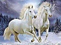 ダイヤモンドの絵画 5Dダイヤモンド絵画馬クロスステッチ動物モザイク刺繡フルセット冬のラインストーン写真装飾ホーム