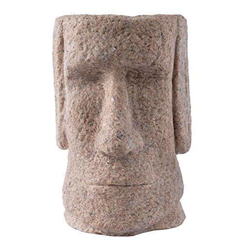 Moai-Statuen der Osterinsel Planter Statue, Dekoration und Ornament Garten Statuen, Sammlerfigur Sandstein-Skulptur Handwerk Geschenk,A