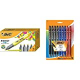 BIC Brite Liner Grip Highlighter, Tank, Chisel Tip, Yellow, 12-Count &  BU3 Grip Retractable Ball Pen, Medium Point (1.0 mm), Assorted Colors, 18-Count