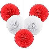 ROSENICE 5 Stück Pompom Deko Seidenpapier Blumen Hängedekoration Weiß Rot