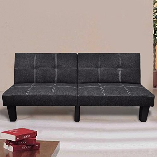 Lingjiushopping canapé lit réglable nerocolore : Noir avec poche rayures grises/blanc bois Durable + Structure en acier