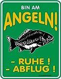 empireposter Bin am Angeln Ruhe! Abflug! - Blech-Schild Blechschild mit Spruch, 4 Saugnäpfe -...