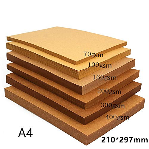 70-200gsm 10/20/50 stks hoge kwaliteit a4 bruin kraftpapier diy handmake kaart maken craft papier dik karton karton, 100gsm 100 stks