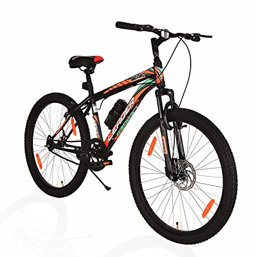 Leader Beast MTB 26T Hybrid Cycle with Front Suspension and Disc Brake Mountain Bicycle Without Gear Single Speed for Men - Matt Black. Ideal for 10 + Years