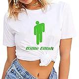 Fushimuma Women's Billie Eilish Logo Music Lovers Fans Gift T-Shirts Summer Tee Tops(S White)