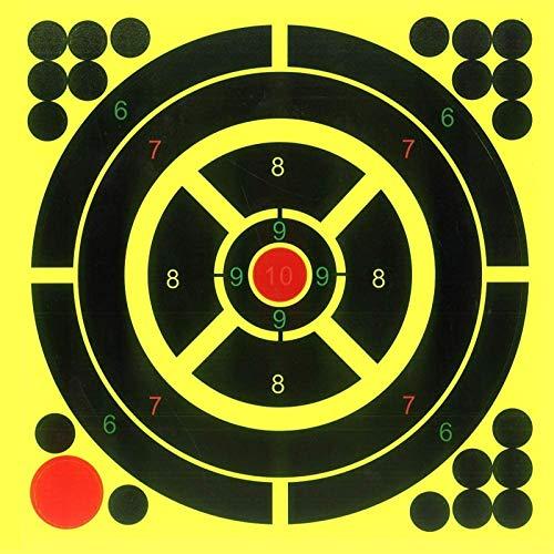 Plátano - Lote de 10 dianas de tiro autoadhesivas y reactivas, autoadhesivas para pistola de fusil BB, pistola Airsoft, pistola de plomo, fusil de aire comprimido, 8 x 8 pulgadas