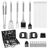 Aiglam 28 PCS barbacoa herramienta, acero inoxidable barbacoa herramientas juegos utensilios de cocina set barbacoa parrilla herramientas kit accesorios